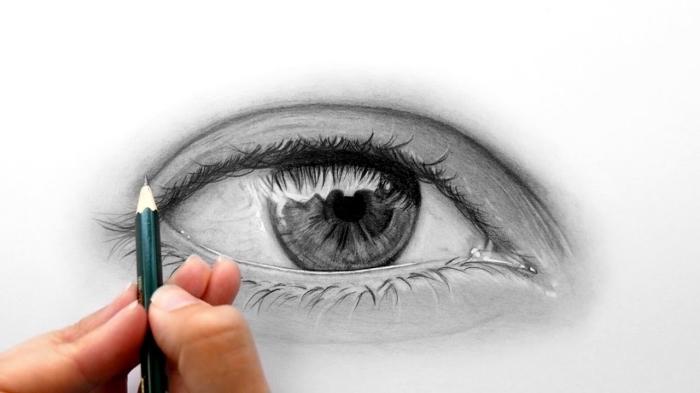 wie zeichnet man auge, wimpern machen, mensch zeichnen, schwarz graues bild