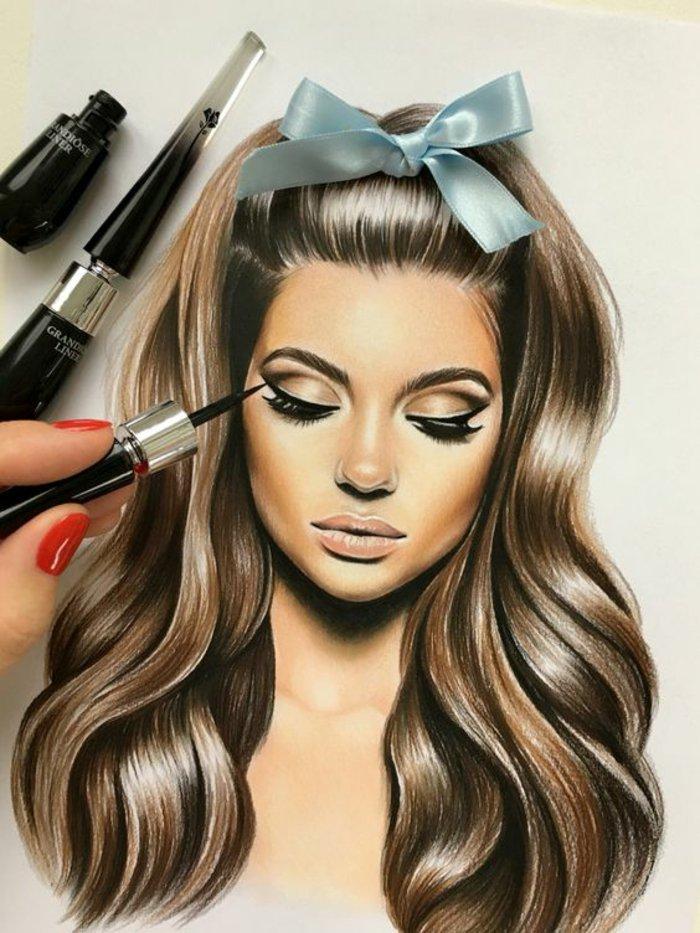 Mit Schminke ein Mädchen Zeichnen, die Zeichnung sieht wie echt aus mit einer blauen Schleife