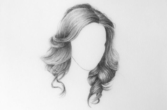 wie zeichnet man haare, motive zum zeichnen, große locken, bleistift zeichnung