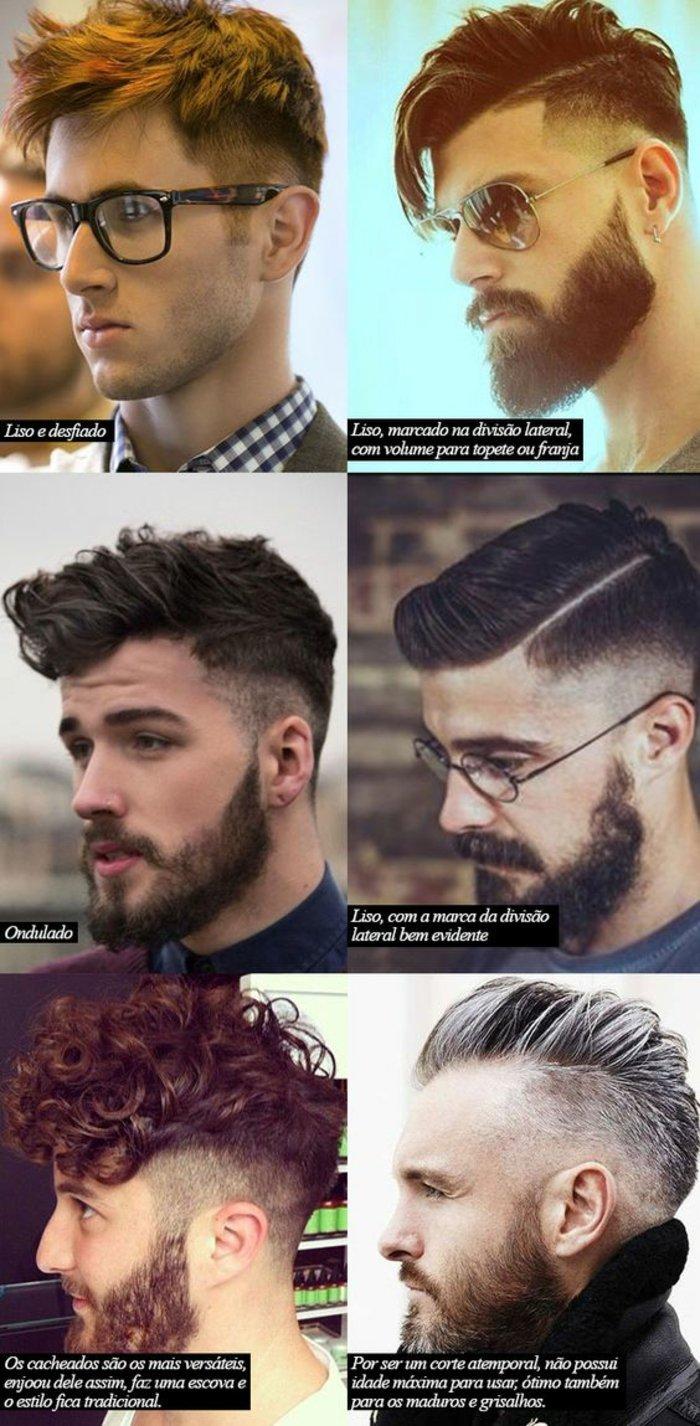 naturlocken mit style gestalten, ein foto mit collage, sechs bilder von männern mit verschiedenen stylings