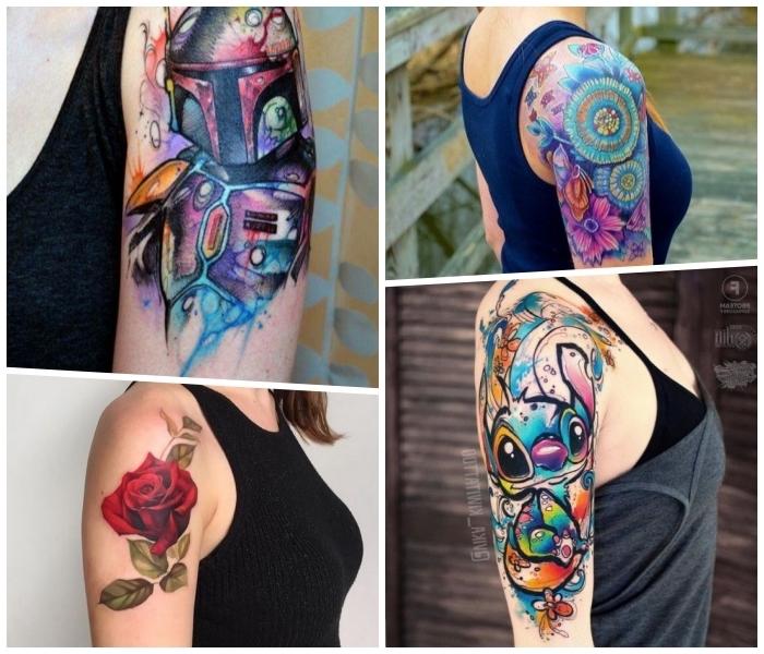 oberarm tattoo für frauen, farbige tätowierungen, rote rose, mandalas mit blumen, stitch
