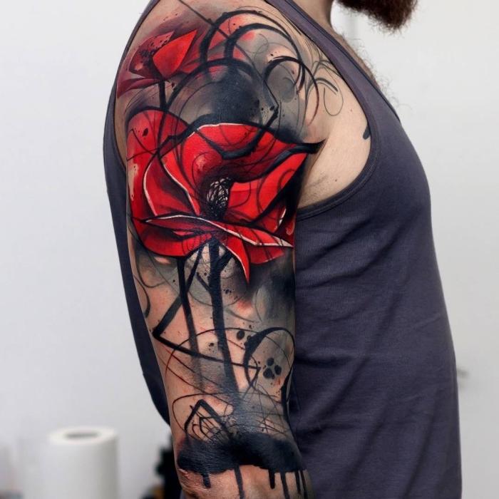 oberarm tattoo, große rote blume, abstrakte tätowierung, blackwork