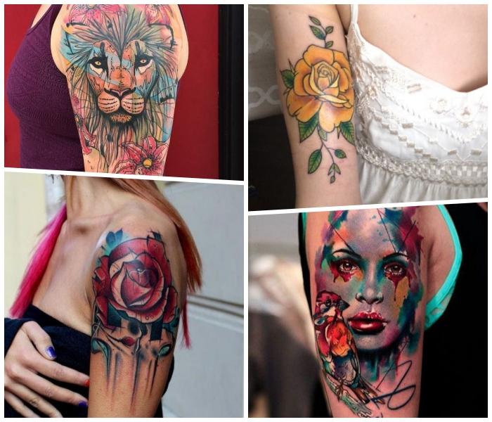 oberarm tattoo ideen für frauen, gelbe rose, realistisches frauengesicht, löwenkopf