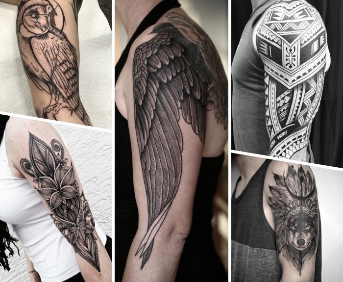 oberarm tattoo ideen für frauen und männer, blackwork tätowierungen, wolfkopf mit indianer schmuck, eule