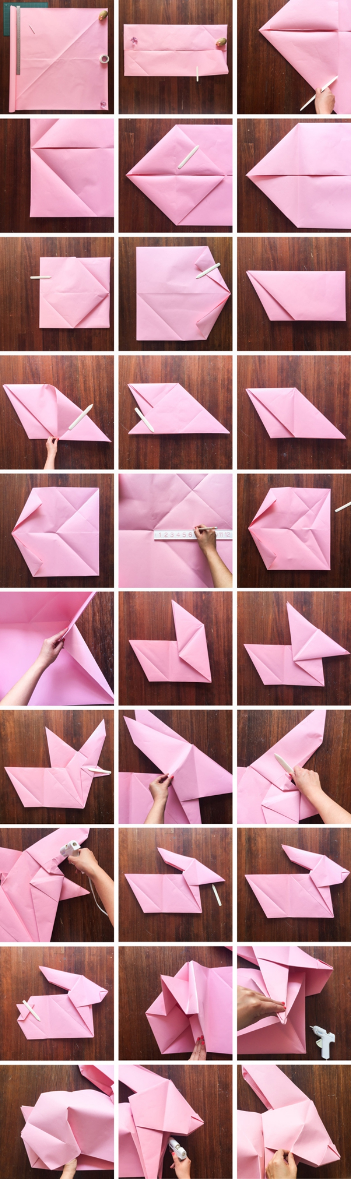 origami osterhase aus rosa papier falten, hase basteln aus papier, anleitung