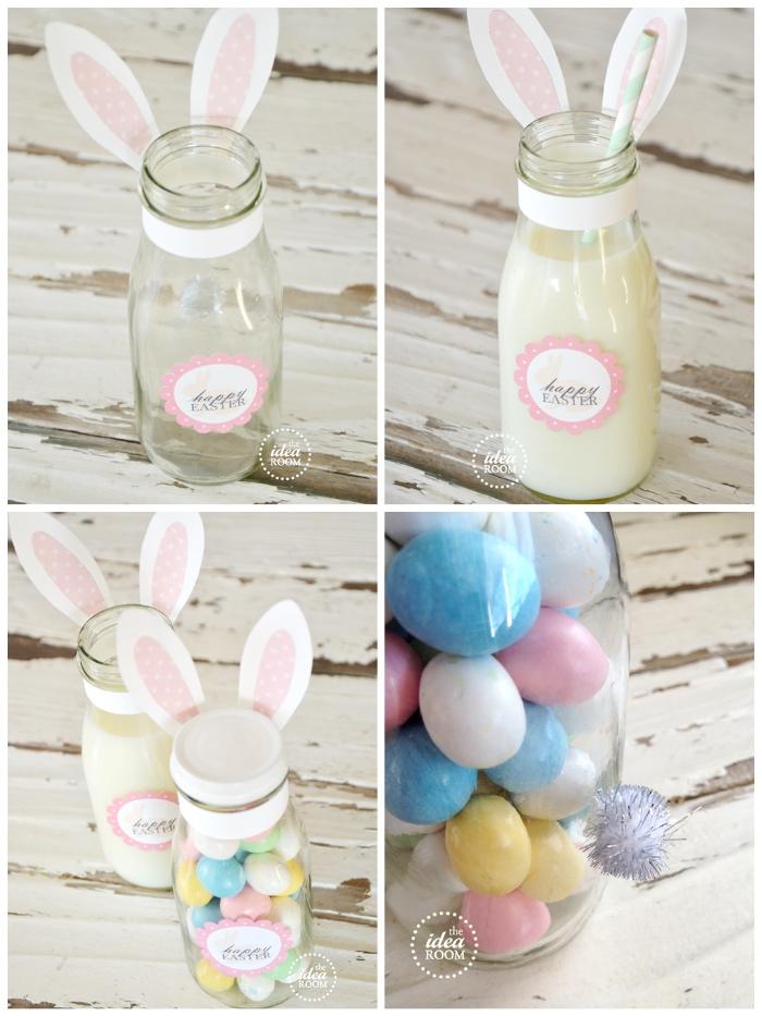 osterdeko selber basteln, glasflasche mit milch, bunte eier, ideen zum ostern, hasenohren