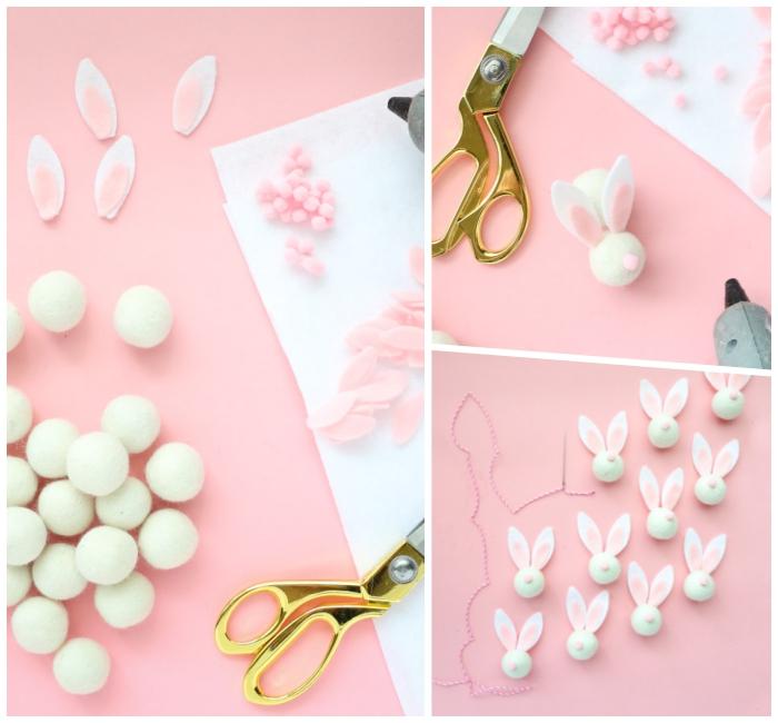 osterdeko selber machen, weiße pompons, ohren aus filzstoff, diy hasen