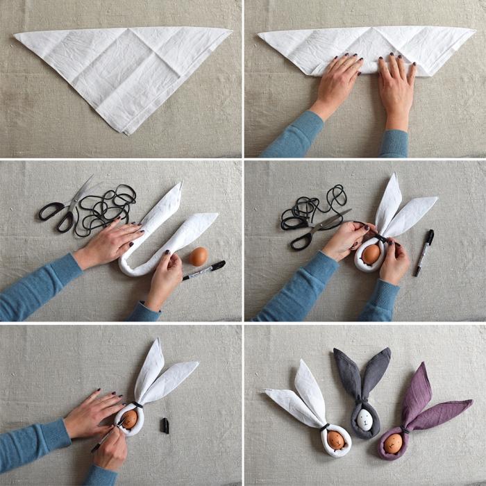 osterdeko selber machen, servietten falten, ei wie hase dekorieren, anleitung