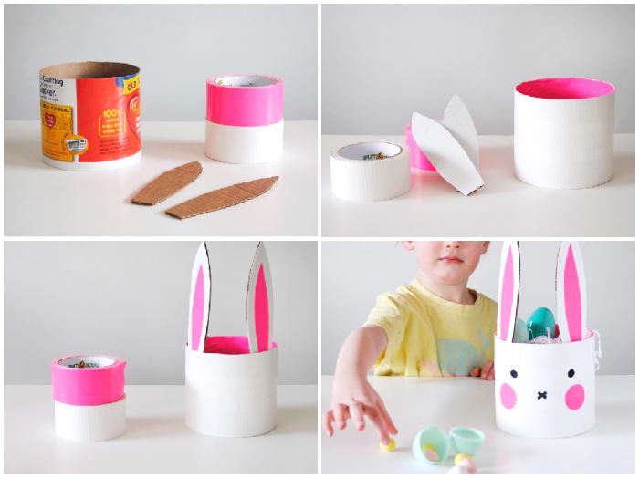 osterhasen basteln aus papier, diy tutorial, rosa und weißes klebeband, korb für eier