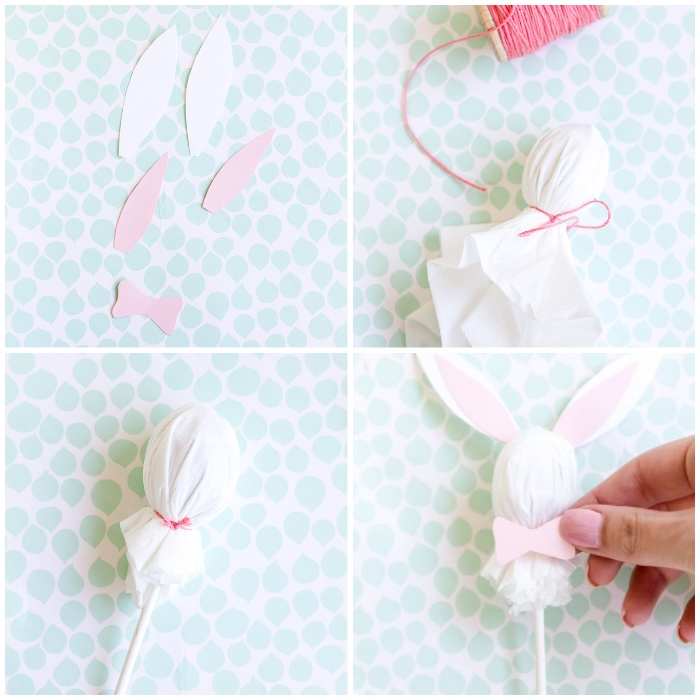 osterhasen basteln anleitung, ohren und fliege aus papier, lutscher als hasen dekorieren