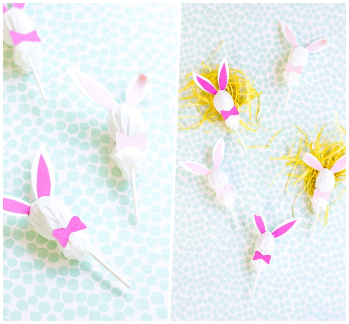 osterhasen basteln, streifen gelbes papier, hasen aus lutschern mit ohren und fliegen aus papier