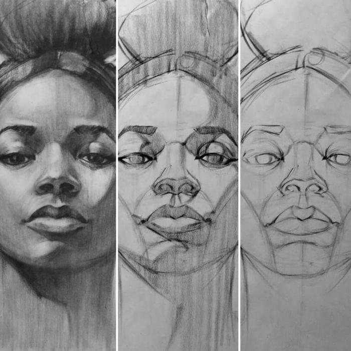 frau mit dutt frisur, portrait zeichnen schritt für schritthochgesteckte haare, anleitung