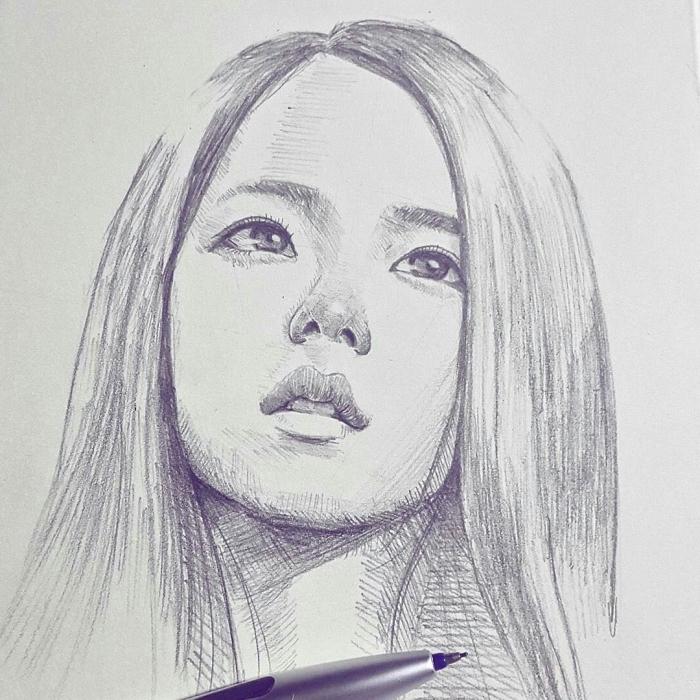 realitische zeichnungen, portrait zeichnen, frau mit glatten haaren, gesicht