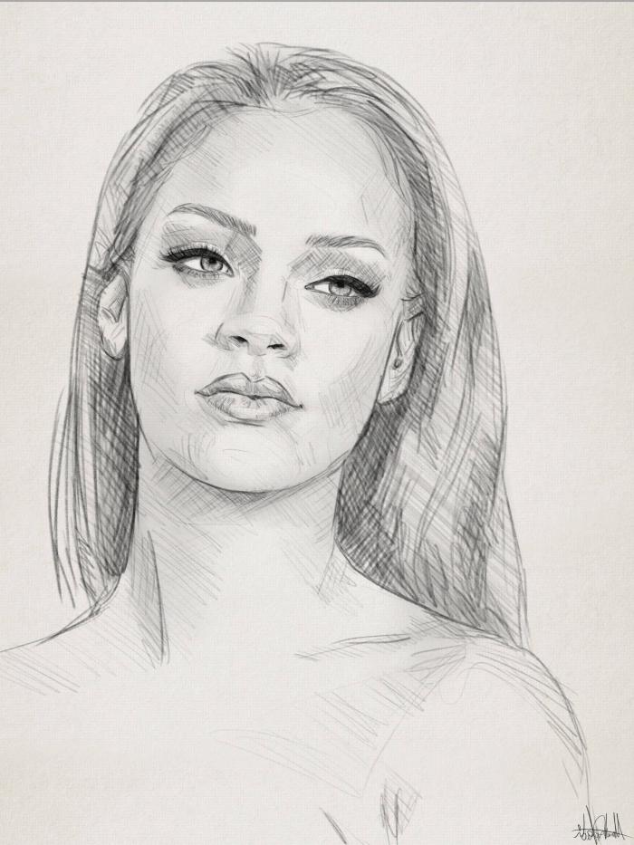 rihanna zeichnung in schwarz grau, portrait zeichnen mit bleistift, frau