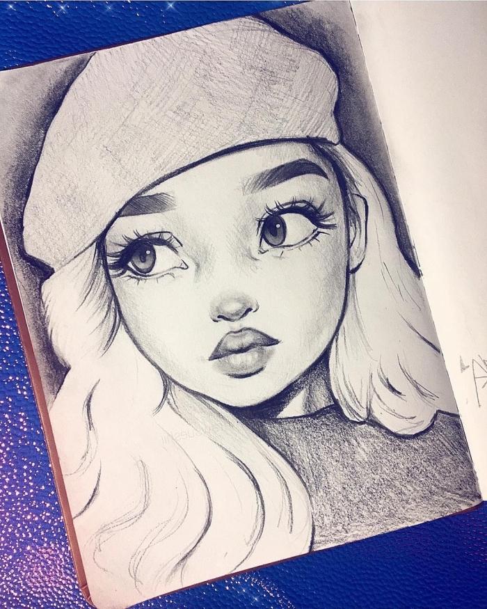 portrait zeichnen, wie zeichnet man frauengesicht, mädchen mit mütze, große augen