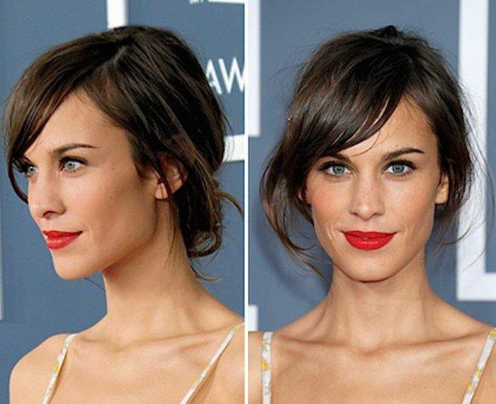 haarfarbe braun, braune gebundene haare, eine schöne frau, roter lippenstift, blaue augen, schönheitsideal