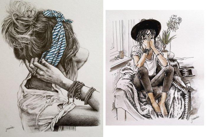 zwei Bilder von Mädchen, schöne Bilder zum Abzeichnen, Mädchen mit Haarschmuck und Hut