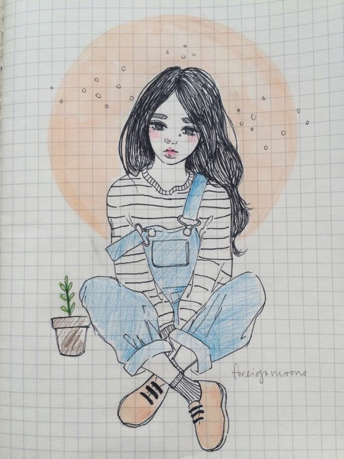 ein Mädchen mit Denim Overall, eine gestreifte Bluse, die Sonne im Hintergrund, schöne Bilder zum Abzeichnen