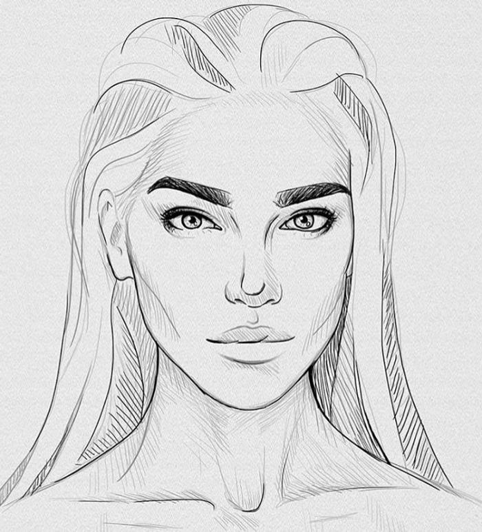 skizzen zeichnen, frau mit glatten haaren, gesicht skizzieren, dunkle augenbrauen