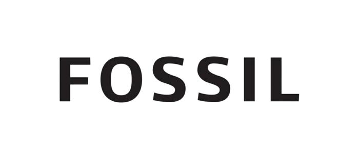 Fossil, eine Marke, die Produkte wie Smartwatch herstellt, schwarze Buchstaben als Logo