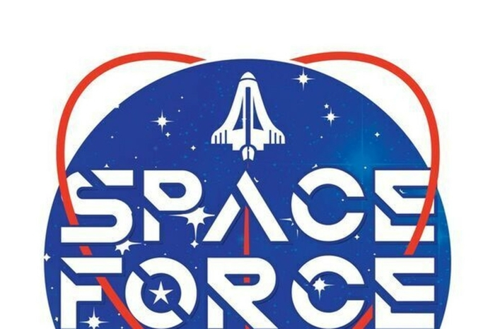 ein ausgedachtes Logo von Space Force, eine neue Kömodie die damit beschäftigen wird