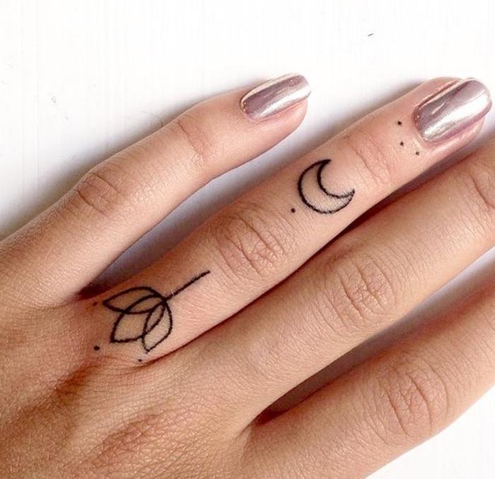 tattoo ideen fingertattoos, mandalatattoos, tulpe und mond, tattoo bedeutungen, punkte tätowieren