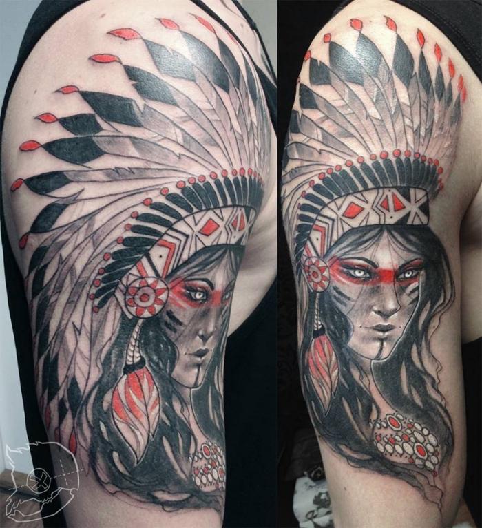 tattoo arm mann, frau mit großem indianer schmuck mit federn, rote akzente
