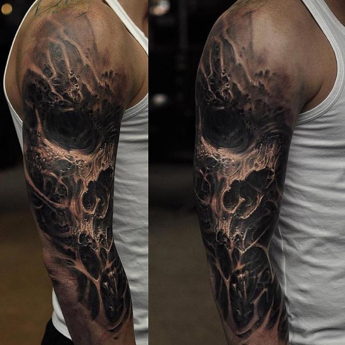 tattoo arm mann, realistische detaillierte tätowierung mit schödek als motiv