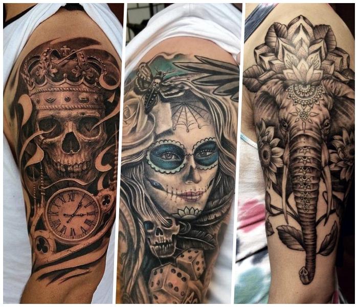 tattoo motive männer, schädel mit krone und taschenuhr, elefant mit mandala motiven