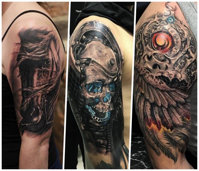 tattoo motive männer und frauen, schädel mit blauem licht, flügel mit mechanischen elementen