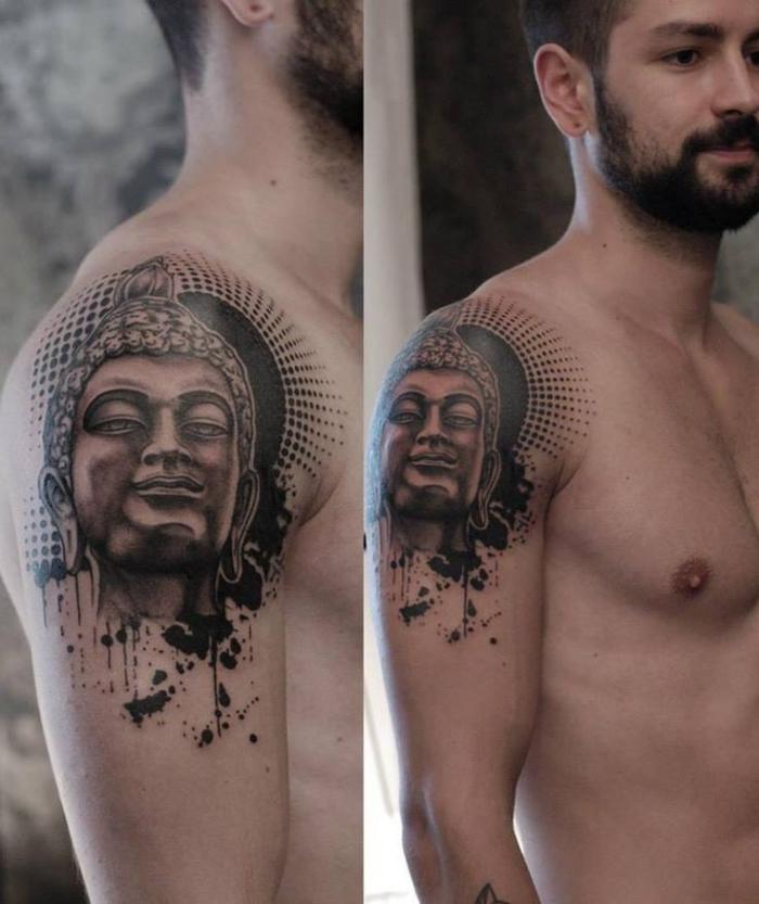 tattoos männer arm, realistische tätowierung, buddha statue, schzlter