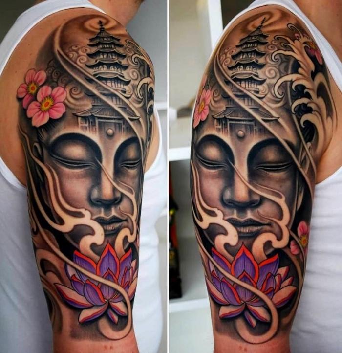 große tätowierung, rosa kirschblüten, lila lotus, tattoos männer arm, buddha