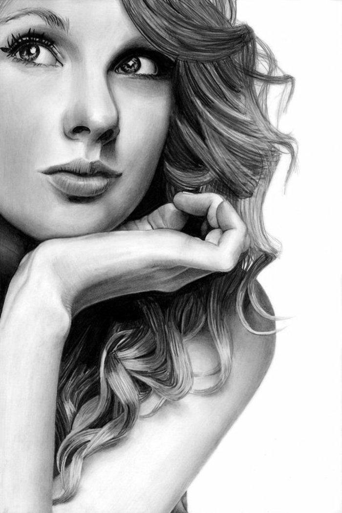 Taylor Swift, schöne Bilder zum Abzeichnen, ein traumhaftes Gesicht mit großen Augen und volle Lippen
