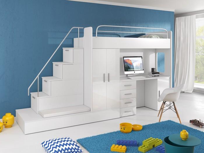 Weißes Hochbett mit Treppe, Schreibtisch und Kleiderschrank, Kinderzimmer Einrichtung