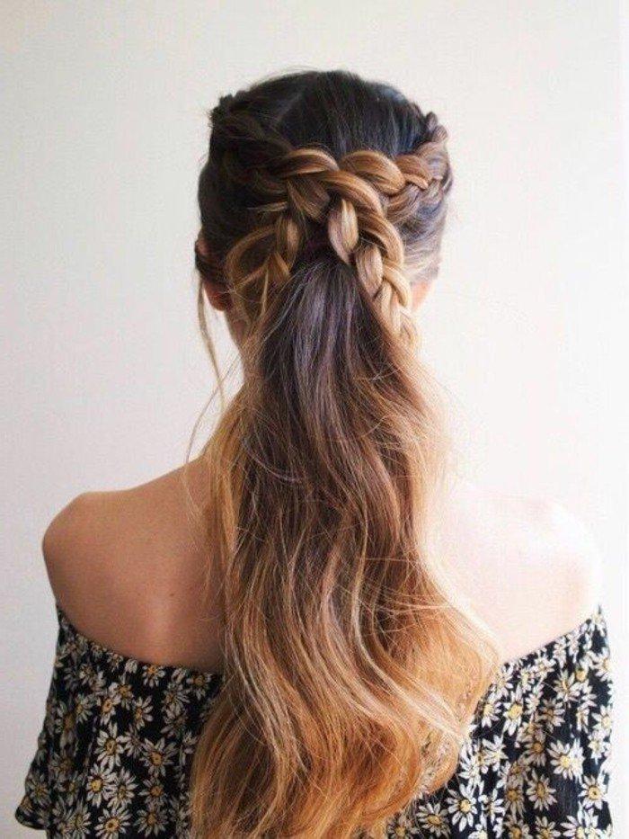 haselnussbraun oder hellere nuancen an den haarspitzen auftragen, dunkle ansätze, blonde spitzen