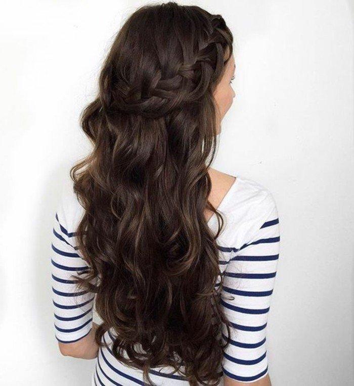 hellbraune haare oder dunkle schattierung was bevorzugen sie, lange wellige haarstyles mit zopf gestreifte bluse
