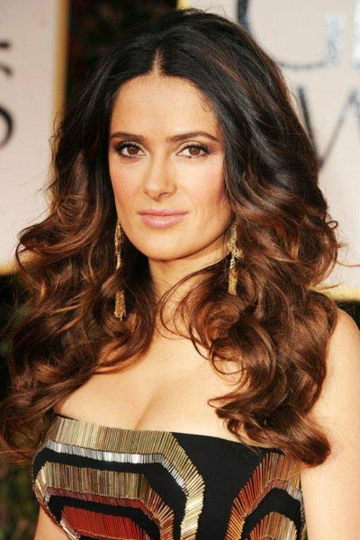 penelope kruz, haarstyles, dunkelbraune ansätze, haselnussbraun spitzen, ombre karamell