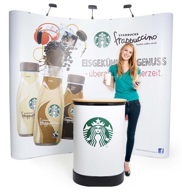 Messedisplays für unterschiedliche Einsatzbereiche, Faltdisplay Starbucks