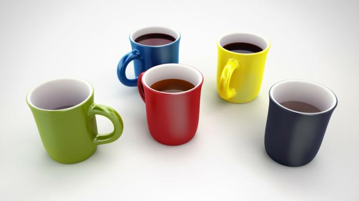 bunte Tassen voller Kaffee, Tassen mit Platz mit dem Logo bedruckt zu werden, Werbegeschenke