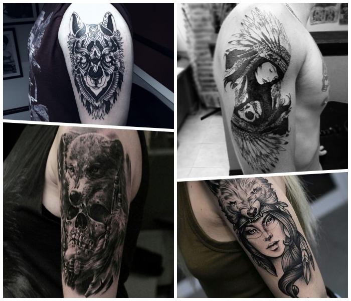 wolf tattoo arm arm, frau mit indianer kopfschmuck, große feder, wolfkopf