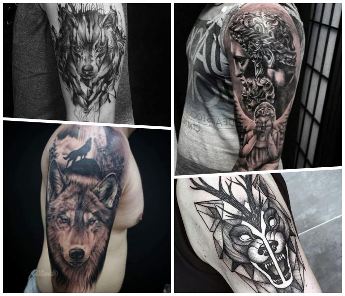tätowierungen an den armen, wolf tattoo, designs in schwarz und grau, engel