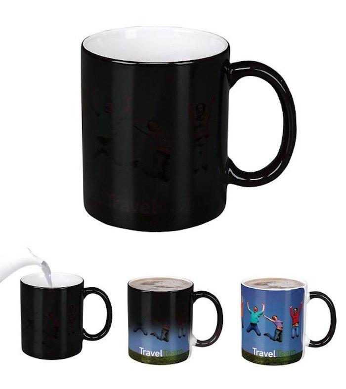 Tassen als Werbegeschenk, Zaubertasse mit Firmennamen, Logo, Slogan oder Foto schenken