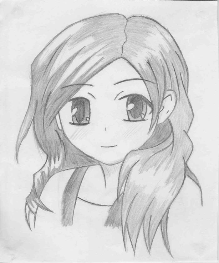 zeichnen für anfänger, anime mädchen mit großen augen, süße zeichnung