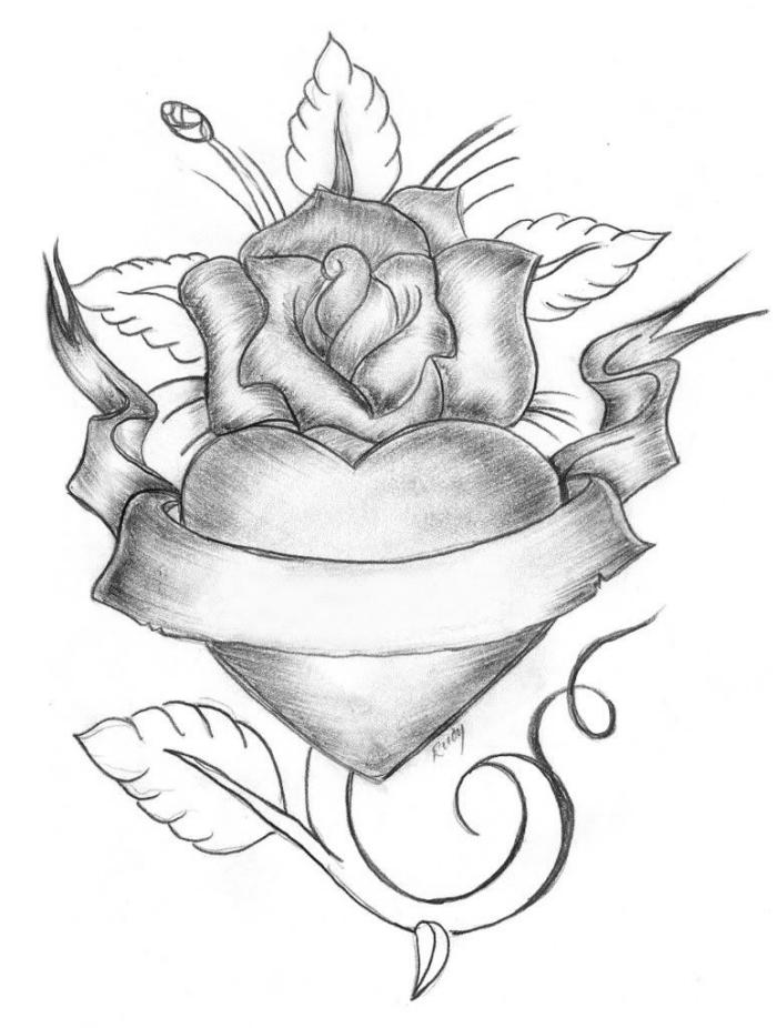 zeichnen für anfänger, herz in kombination mit rose und floralen motiven