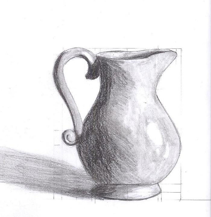 zeichnen für anfänger, gefäß für wasser, richtige proportionen finden, schwarz grau