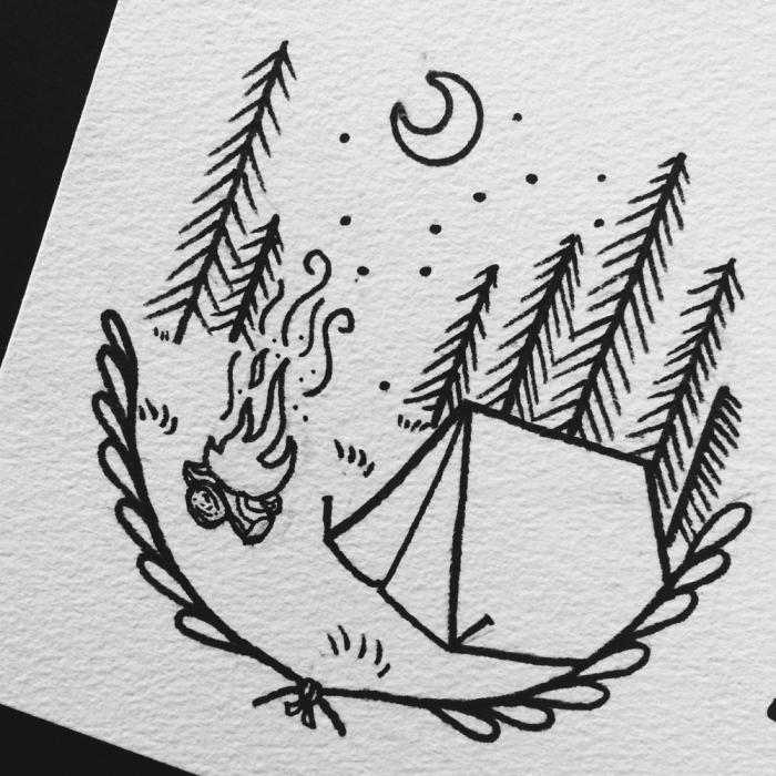 zelt mit bäume, freuerstelle und mond, zeichnen für anfänger, einfaches bild