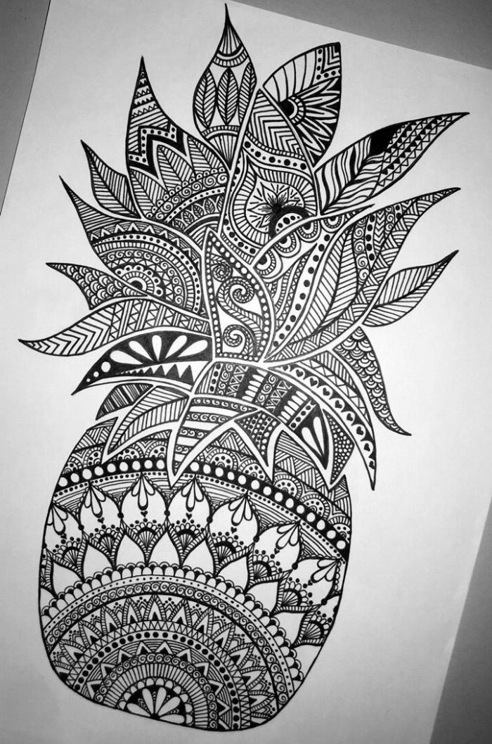 zeichnen ideen, ananas in kombiantion mit geometrischen motiven, mandala