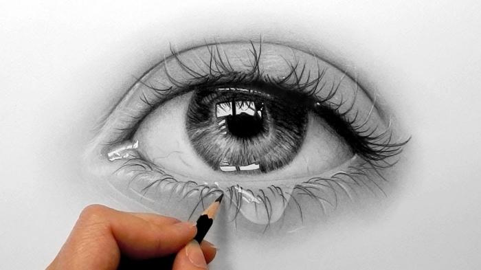 auge zeichnen ideen, realitische frauenauge, große träne, sehr detaillierte zeichnung