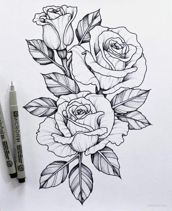 rosen zeichnen ideen, schwarze kugelschreiber, blumen und blätter