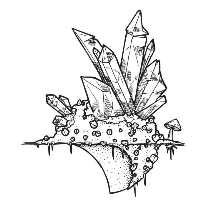 zeichnen lernen, große kristalle, kleine steine, pilze, moderner stil